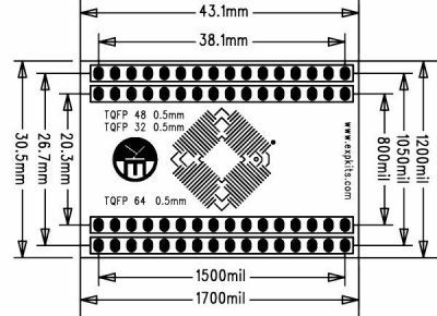 0.5MM TQFP32-48-64 SMD-Dip Converter Board (Short)