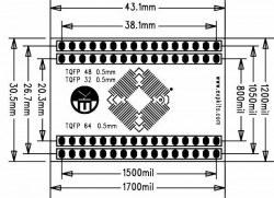 0.5 mm TQFP32-48-64 SMD-Dip Dönüştürücü Kartı (Kısa) - Thumbnail