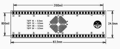 0.5 mm TQFP16-32-48-64 SMD-Dip Dönüştürücü Kartı (Uzun)