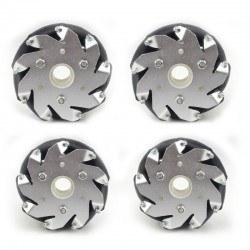 Image of 100mm Mecanum Wheel Set (2x Left, 2x Right) (Brass Bearing for Rollers)