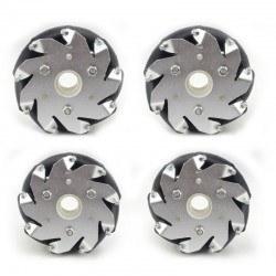 100mm Mecanum Wheel Set (2x Left, 2x Right) (Brass Bearing for Rollers) - Thumbnail