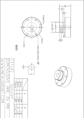 10mm Aluminum Spacer (Hub) with Key 18034