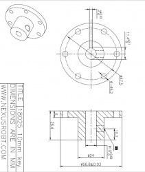 10 mm Kama Boşluklu Alüminyum Göbek - Universal, 18025 - Thumbnail