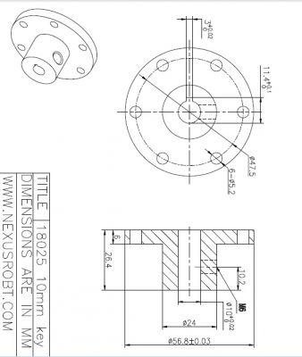 10 mm Kama Boşluklu Alüminyum Göbek - Universal, 18025