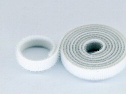 China - 10mm Wide Velcro (loops & hooks integrated) 1 Meter White