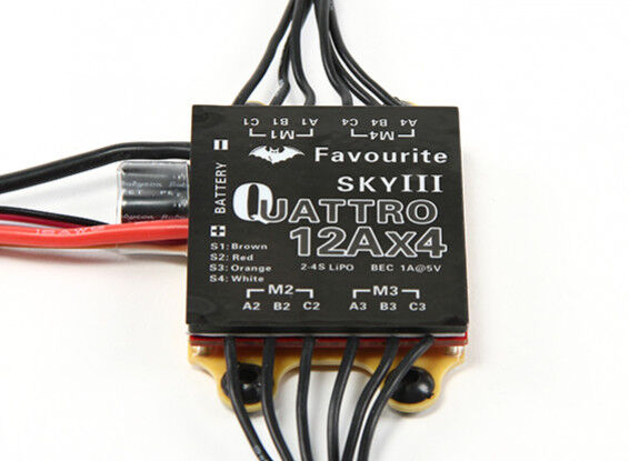 12 A 2S-4S Favourite SKY III Quattro 4 in 1 ESC - Brushless Speed Controller