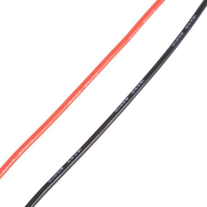12 AWG 1 Metre Siyah ve Kırmızı Silikon Kablo