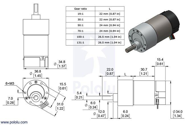 12 V 37 mm 76 RPM Enkoderli 131:1 Redüktörlü DC Motor