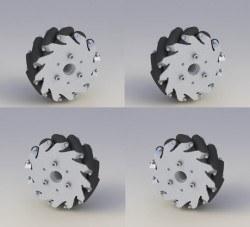 Image of 127mm Aluminium Mecanum wheel(4 pieces)/Bearing rollers 14193
