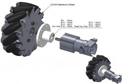 127 mm Alüminyum Mecanum Tekerlek Seti - Rulmanlı Rulo, 14193 - Thumbnail