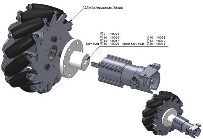127 mm Alüminyum Mecanum Tekerlek Seti - Rulmanlı Rulo, 14193