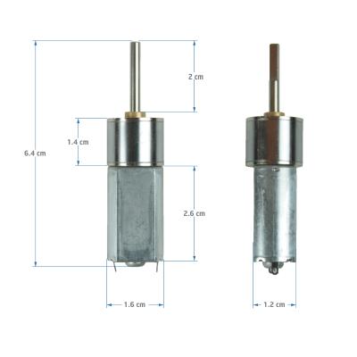 12 V 16 mm 600 RPM Redüktörlü DC Motor