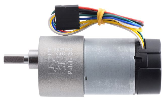 12V 37mm 100 Rpm 100:1 DC Gearmotor with Encoder