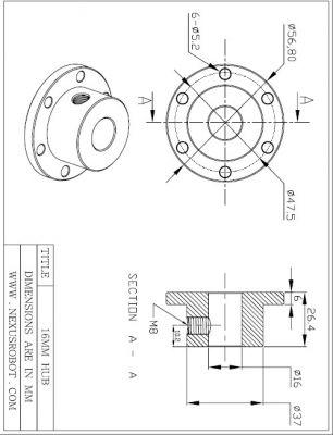 16 mm Alüminyum Göbek - Universal, 18012