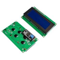 20x4 LCD Ekran - I2C Lehimli Mavi Display - Thumbnail