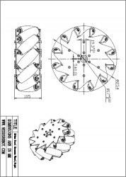 254mm (10 inches) Aluminium Mecanum Wheel /w Bearing Rollers, 14131 - Thumbnail