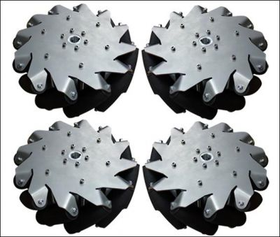 254mm (10 inches) Stainless Steel Mecanum Wheel w/Bearing Rollers, 14141