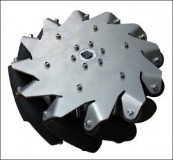 254mm (10 inches) Stainless Steel Mecanum Wheel w/Bearing Rollers, 14141 - Thumbnail