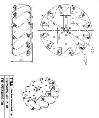 254 mm Çelik Mecanum Tekerlek Seti - Rulmanlı Rulo, 14141