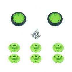 30x8 mm Yeşil Renk Geçmeli Tekerlek Seti - Thumbnail