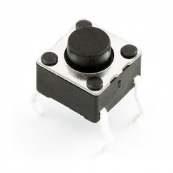 Robotistan - 4 Pin Push Button - Black (6x6x5mm)