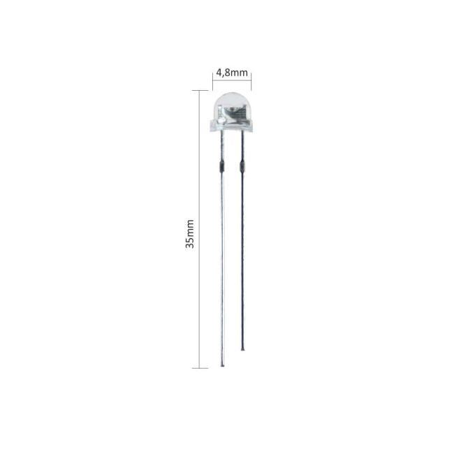 4.8 mm Şeffaf Mantar Beyaz Led Paketi - 10 Adet