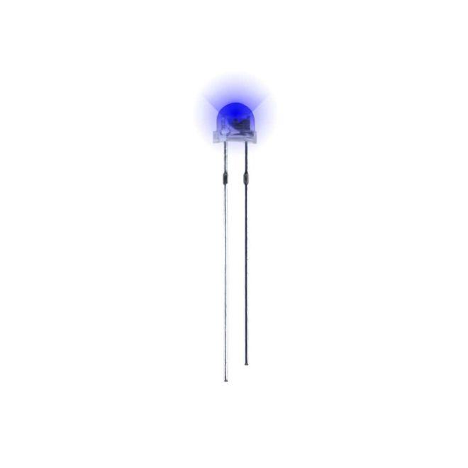 4.8 mm Şeffaf Mantar Mavi Led Paketi - 10 Adet