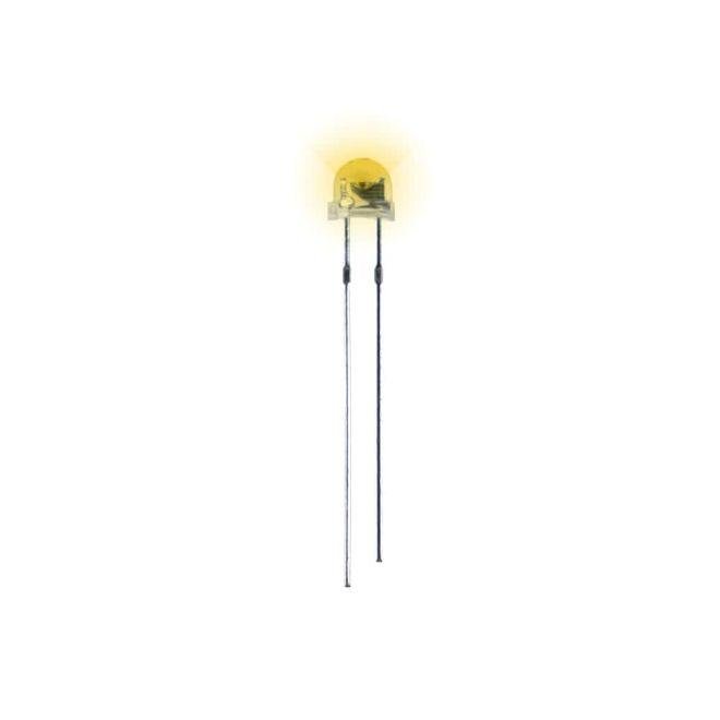4.8 mm Şeffaf Mantar Sarı Led Paketi - 10 Adet