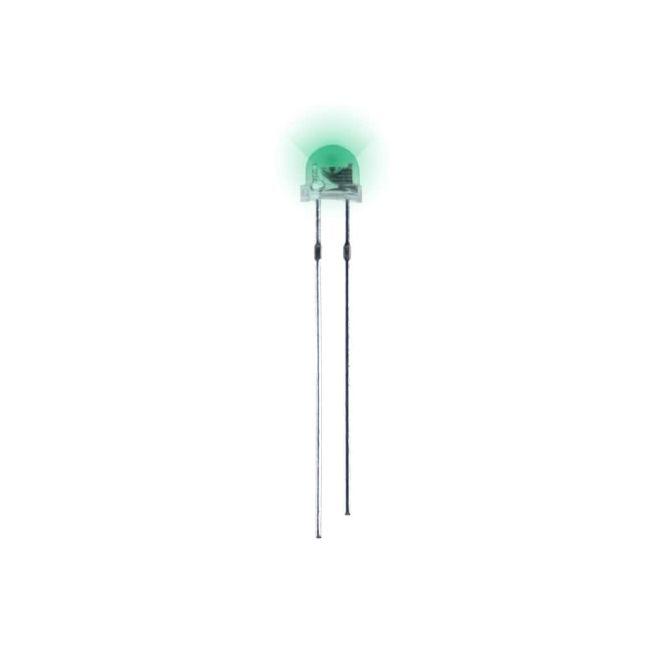 4.8 mm Şeffaf Mantar Yeşil Led Paketi - 10 Adet