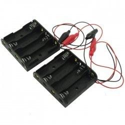Robotistan - 4′lü AA Pil Yuvası (Geniş ve Krokodil Kablolu)