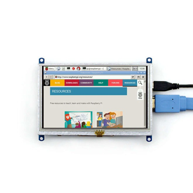 5 Inch HDMI Rezistif Dokunmatik LCD Ekran - 800x480 (B)