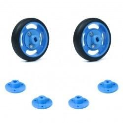 Robotistan - 50x11 mm Mavi Renk Geçmeli Tekerlek Seti