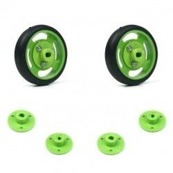 Robotistan - 50x11 mm Yeşil Renk Geçmeli Tekerlek Seti