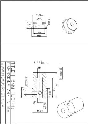 5mm Aluminum Mounting Hub 18028