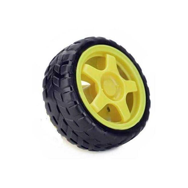 6 V 250 RPM Motor Uyumlu Tekerlek - Sarı Tekerlek