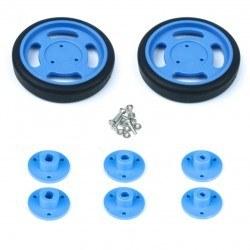 60x11 mm Mavi Renk Geçmeli Tekerlek Seti - Thumbnail