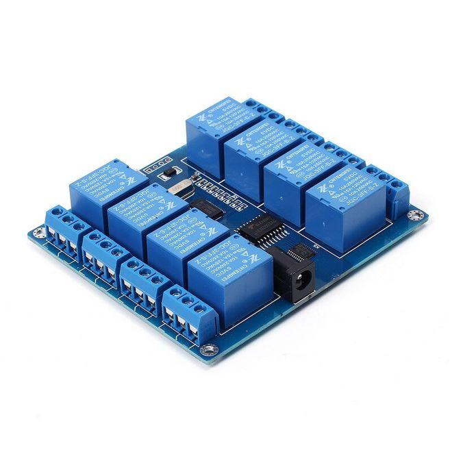 8 Kanal 5 V Seri Haberleşme Kontrollü Röle Kartı (Mikro USB & Pin)