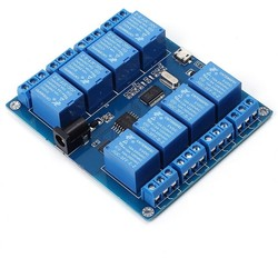 Robotistan - 8 way 5 V Serial Control Relay Module (Micro USB & Pin)