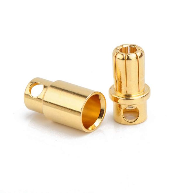 8mm Banana Battery Connector Bare Metal (Male-Female single pair)
