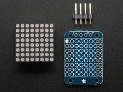 8x8 0.8 Inch Mini I2C Bağlantılı Matris (Kırmızı) - Thumbnail