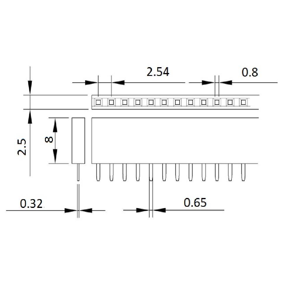 dişi pin header boyutları