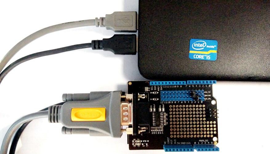arduino rs232 shield bilgisayar bağlantısı