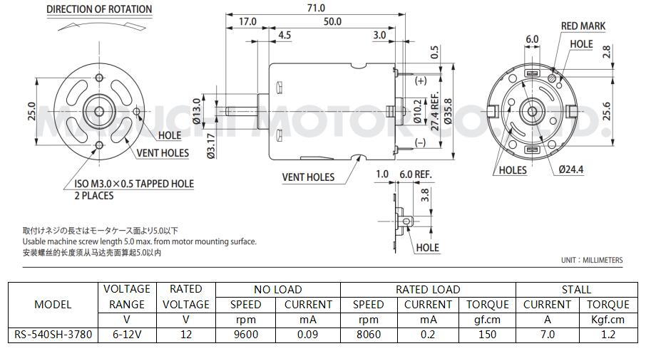 mabuchi rs-540Sh-3780 redüktörsüz dc motor boyutları
