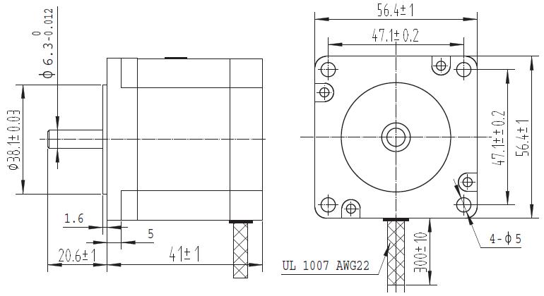 bipolar/unipolar nema 23 200 adım 57x41 mm 5.7 m step motor - pl-1476 boyutları