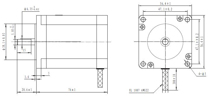 bipolar/unipolar nema 23 200 adım 57x76 mm 4.5 v step motor - pl-1475 boyutları