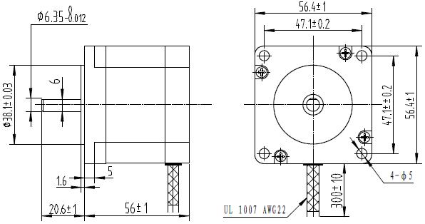 bipolar/unipolar nema 23 200 adım 57x56 mm 7.4 v step motor - pl-1472 boyutları