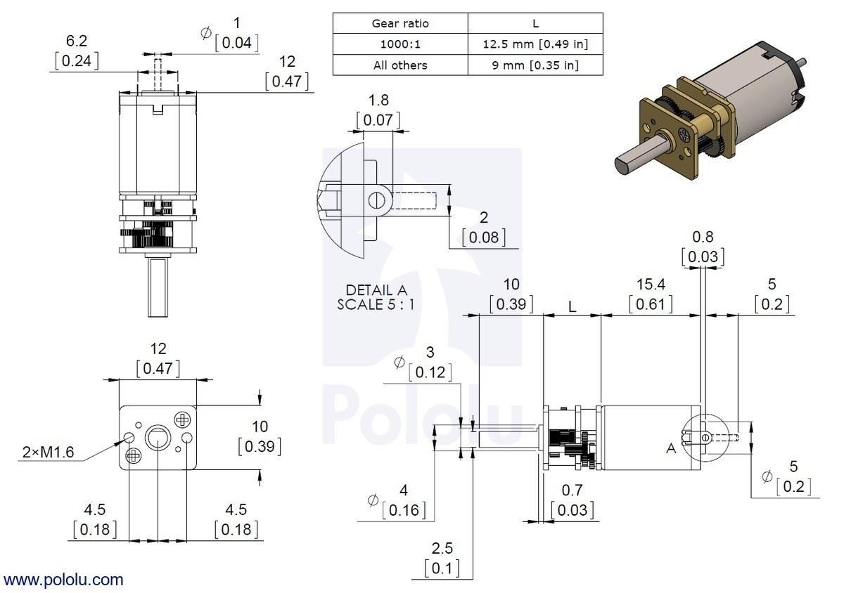 10:1 6 v 3000 rpm karbon fırçalı redüktörlü mikro dc motor boyutları