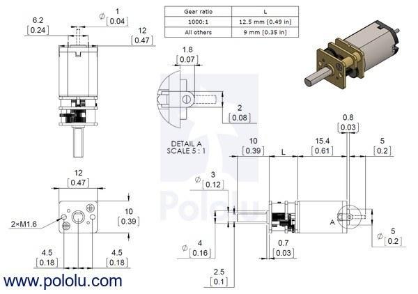 1000:1 6 v 32 rpm karbon fırçalı redüktörlü mikro dc motor boyutları
