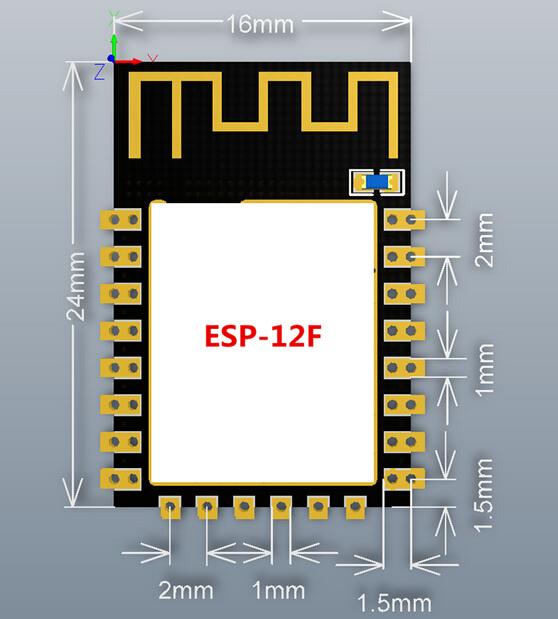 esp-12f wifi modül boyutları