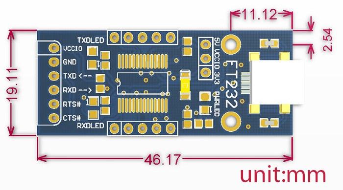 ft232 usb uart fönüştürücü/programlayıcı boyutları